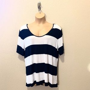 Old Navy Plus Striped Blue White Super Soft Tee